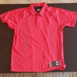 NEW w/tags - Men's Under Armor Red Golf Polo (L)